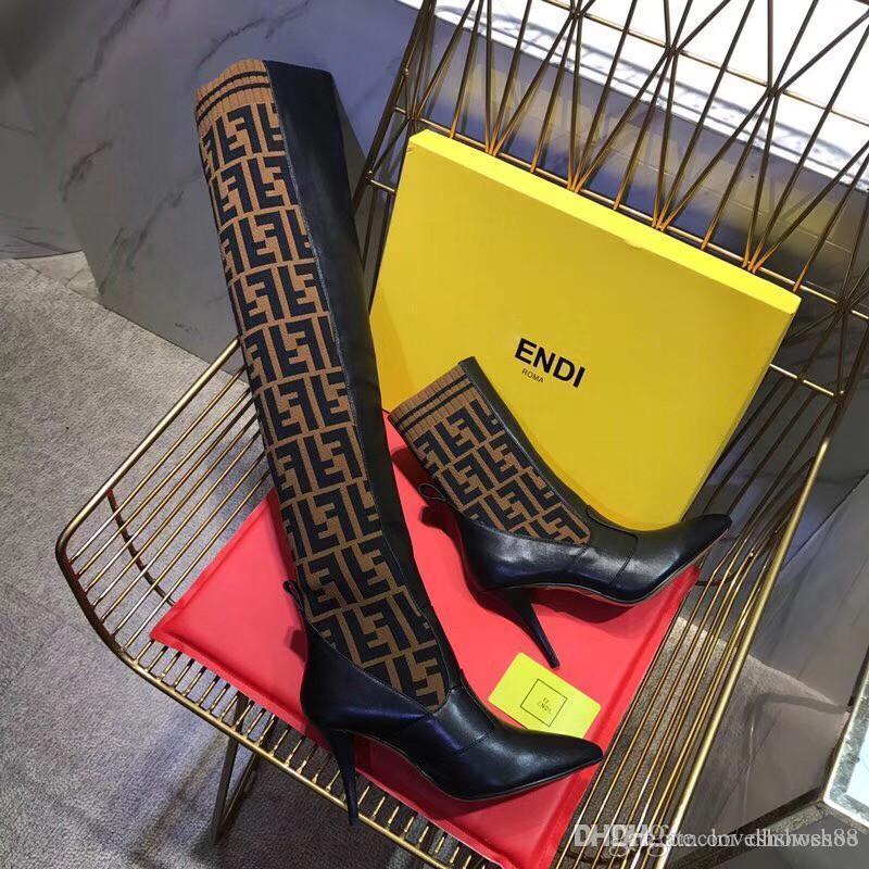 mujeres que hacen punto calcetín botas de tacón alto en punta de 9.5cm zapatos para mujer de las botas del tobillo Sexy delgada botas de los pies de invierno damas de alta calidad