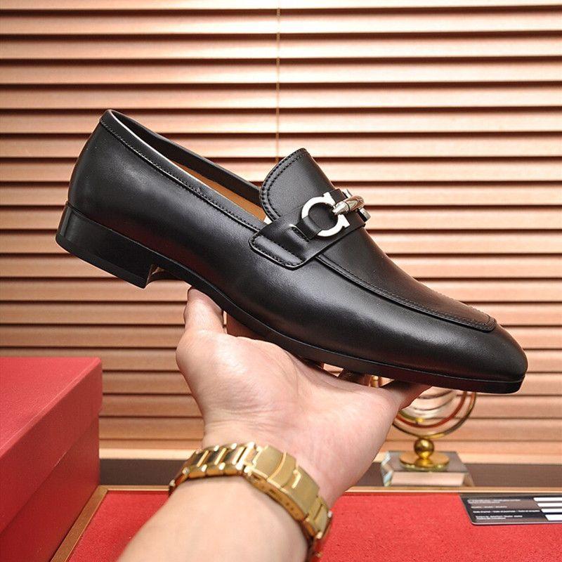 Alta qualidade designer de Formal de luxo Dress For suave Men preto couro genuíno sapatos bicudos Toe Mens Negócios Oxfords calçados casuais 2020