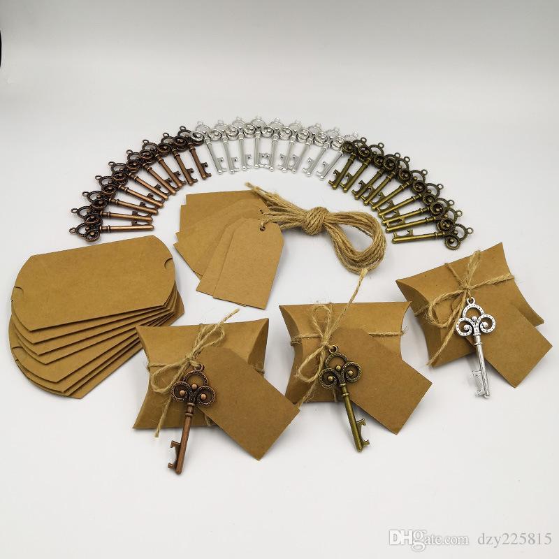 100 X Kreative Handwerk Kraft Pralinenschachtel Mit Schlüssel Flaschenöffner Tag Karte Seil Für Hochzeit Gefälligkeiten Party Geschenke Event Supplies