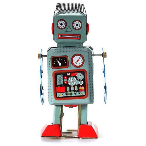 Marry Christmas Clockwork Wind Up metal Andando ROBOT TIN Toy Presente de Natal mecânico retro para as crianças para o ano novo