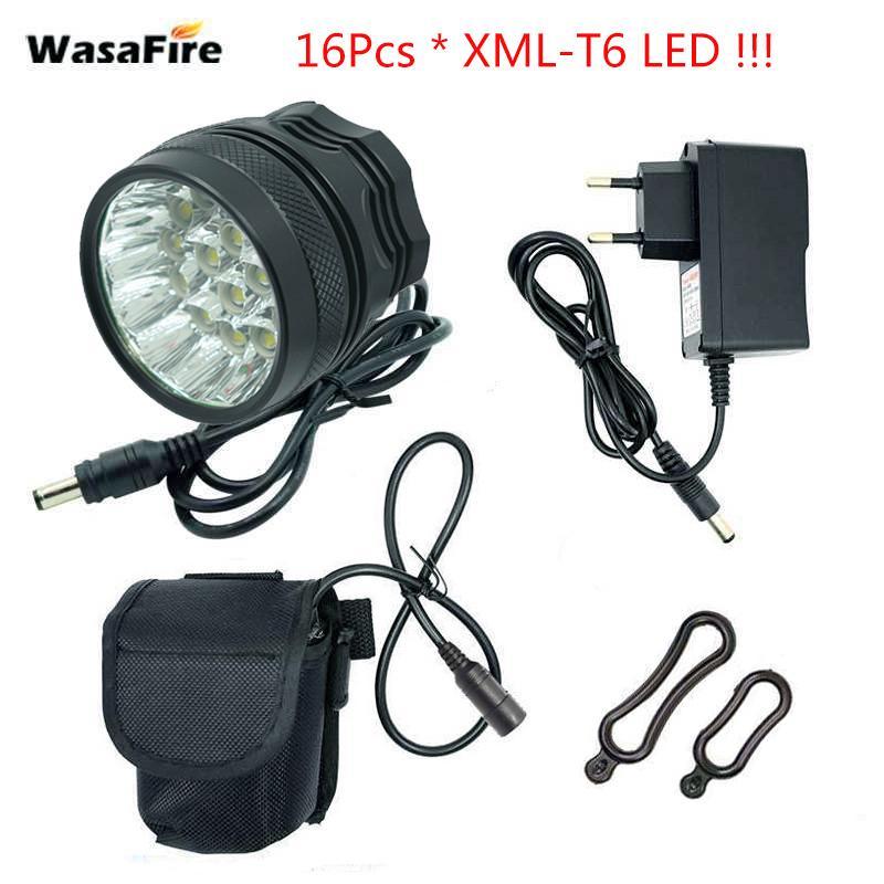 Wasafire 40000 Lumen 16 XT6 LED Lámpara de bicicleta Faro delantera +18650 Baterías Montando Ciclismo Bike Front Light para montar al aire libre