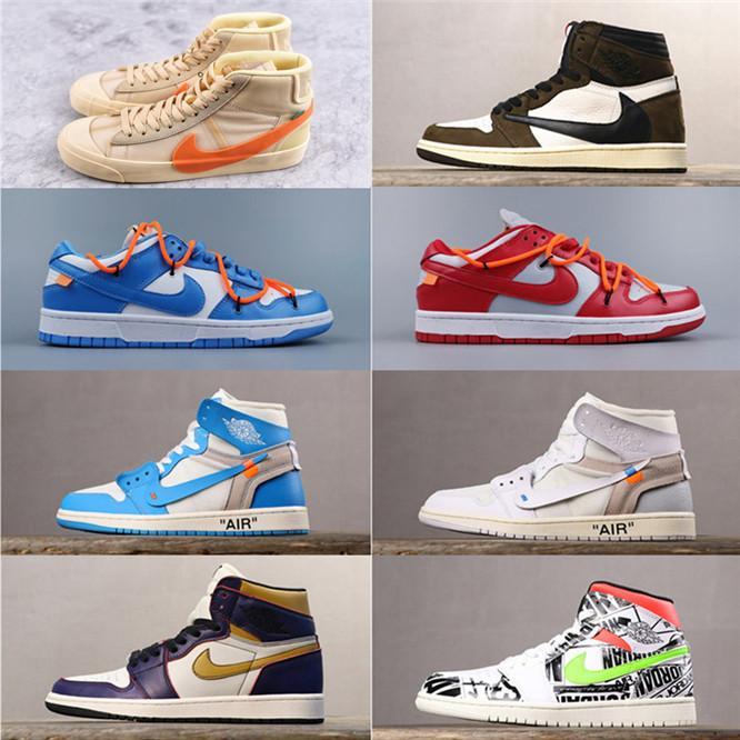 05 Hochwertige Nike air jordan retro 1 OffwhiteOWoffwhiteWHITE x 1 Schuhe Designer Blazer Mid Schuhe Union Off Männer Frauen Turnschuhe