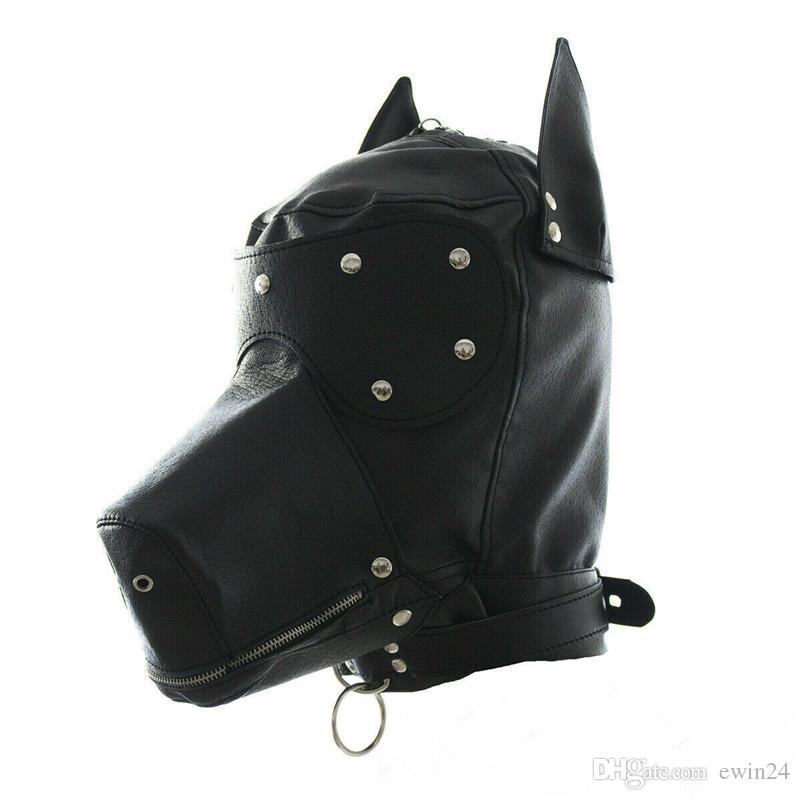 Masquerade Kostüm Köpek Yavru Baş Yaka Tam Yüz Hood Parti Cosplay Ağız Gag gerdanlık Sıkıştırılmış Muzzel Set ile Maske