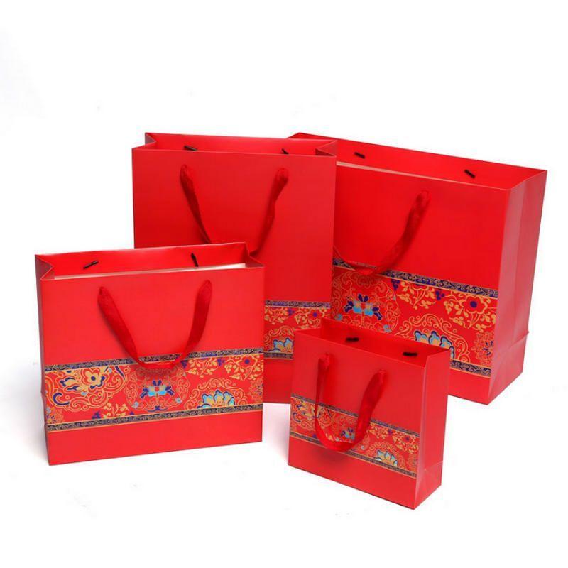 Baskılı Hediye Paketi Kağıt Torbası Kolu Ile Düğün Parti Favor Çanta Çin Tarzı Etkinlik Malzemeleri