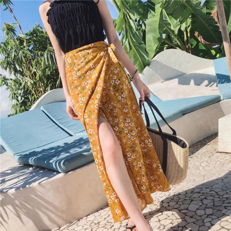 2019 Lady Yellow Summer Fashion Lace-up Gonna Donne vita alta Pineapple Stampa Chiffon spiaggia Harajuku gonna femminile
