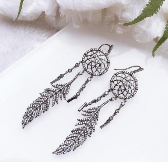 Famous designer Earrings jewelry luxury wedding love Dreamcatcher earrings 925 sterling silver Colorful diamond temperament drop earrings