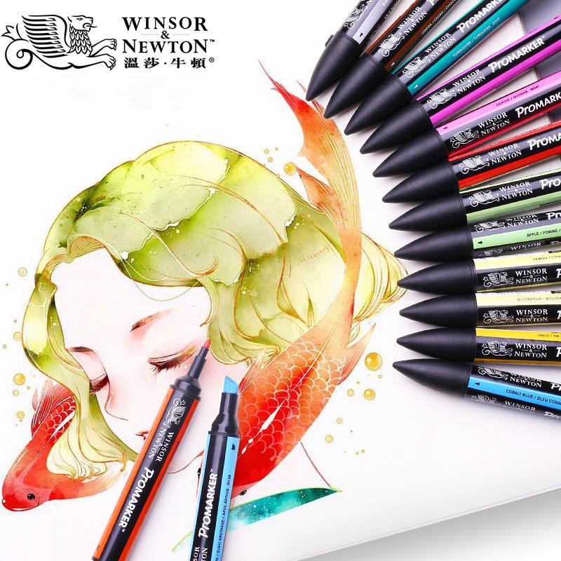 Twin Tip Winsor & Newton à base d'alcool Promarkers Double côté Beaux / Oblique Tip Art Marker Pen pour les artistes Matériaux pour dessin