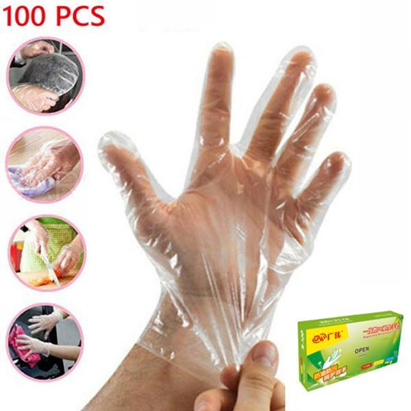 100 transparents à usage unique Gants en plastique polythène Boxed la préparation des aliments Salubrité des aliments Hygiène alimentaire Nettoyage Beauté Restauration Taille moyenne