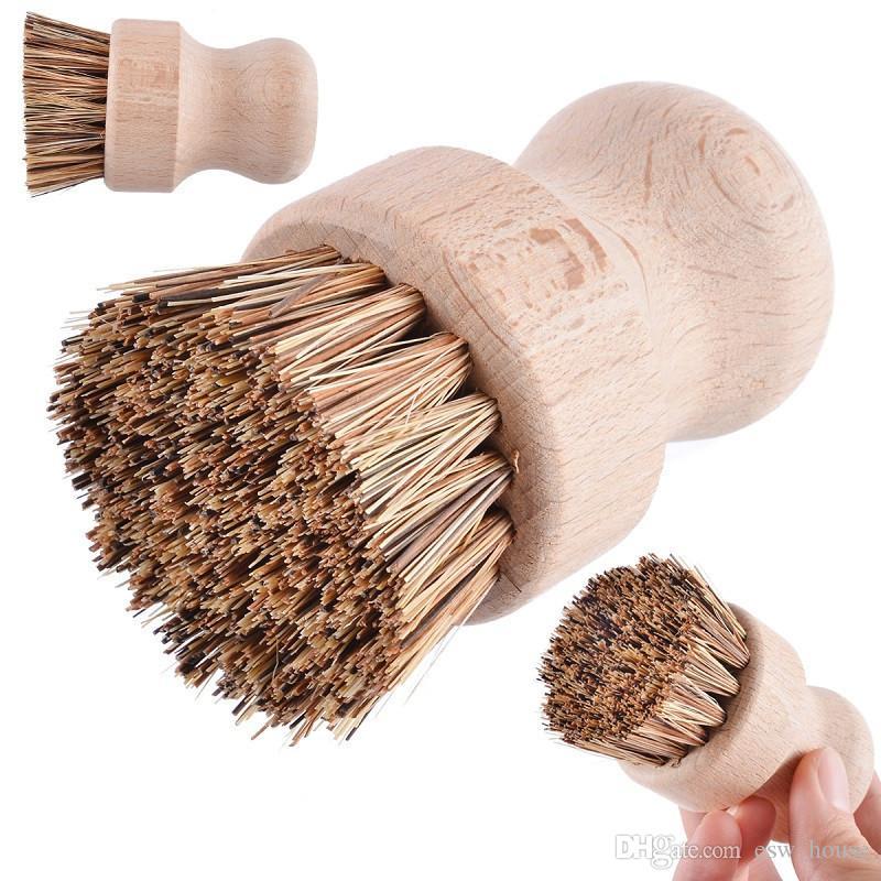 المحمولة خشبية فرشاة سيزال بالم صحن السلطانية بان تنظيف فرش جولة التعامل مع الأعمال الرتيبة وعاء فرشاة مطبخ أداة تنظيف فرك