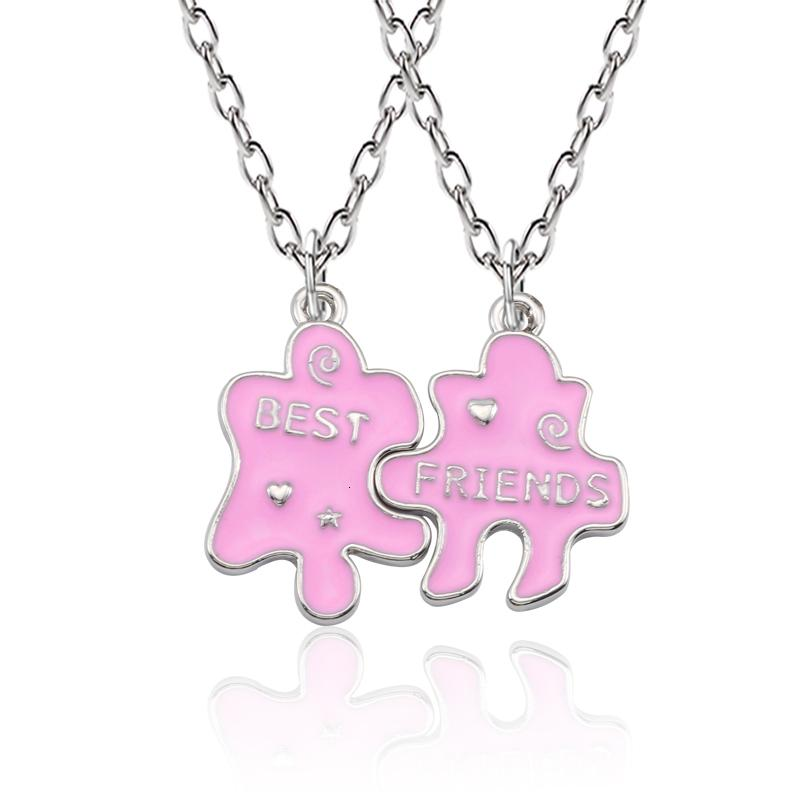 2 pc / insieme Puzzle Best Friends Collana Nero Rosa Bff Best Buds Bitches Amici per sempre collane per le donne