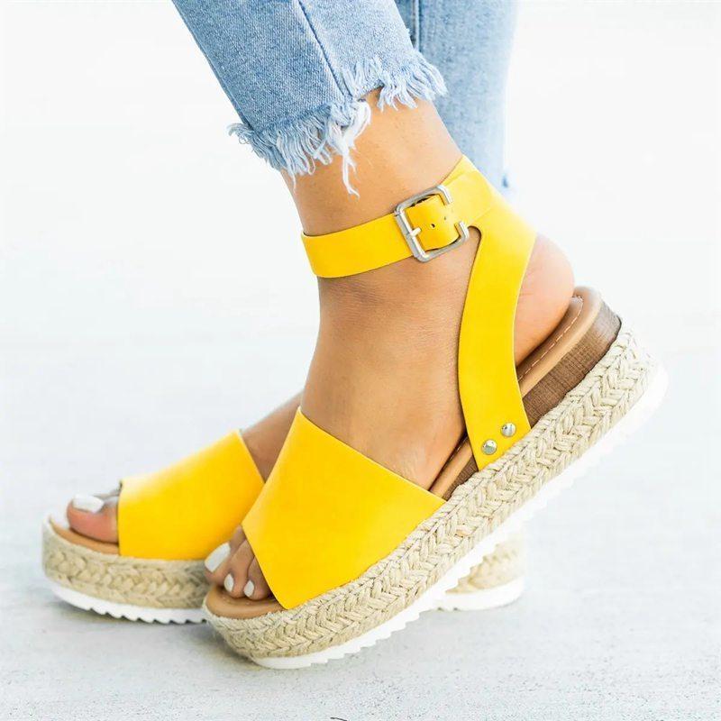 Chaussures Hot Sale-Compensées pour les femmes Sandales Taille Plus de talons hauts d'été Leopard Slides Chaussures Femme Sandales 2019 GMX190705