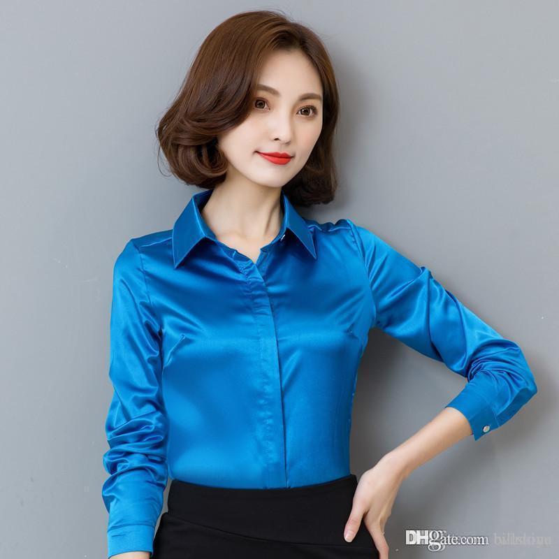 ربيع الخريف أزياء الشيفون بلوزة النساء قمم نوعية ممتازة الحرير زر المرأة قميص الكورية الكلاسيكية قميص الإناث