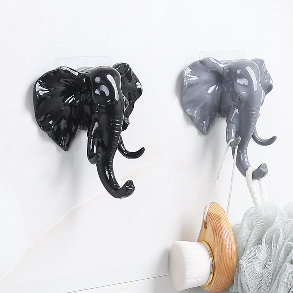 Elefantenkopf Tier Wand Tür Kleidung Haken Display Lagerregale Selbstklebende Kleiderbügel Tasche Schlüssel Klebrige Halter Kreative Decor
