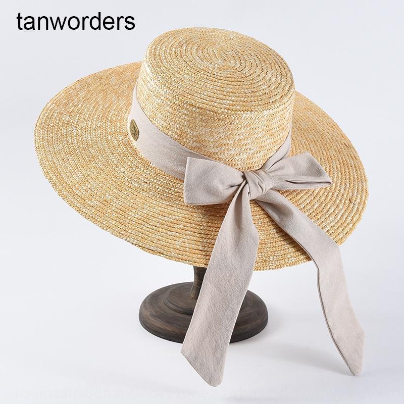 superior plana de trigo bowknot grandes aleros de protección solar de paja paja protección solar de los niños del sombrero del sombrero de turismo de playa verano
