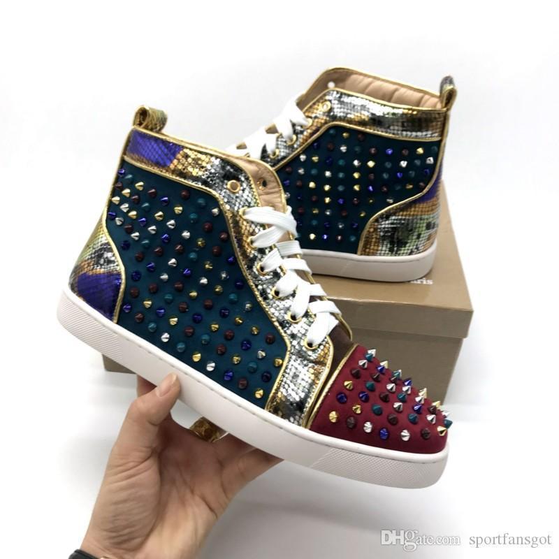Top de color roja pico de cuero zapatos inferiores del diseñador de moda los zapatos de boda de lujo del partido de la zapatilla de deporte de Spike Sedue ternera High Cut Casual Shoes