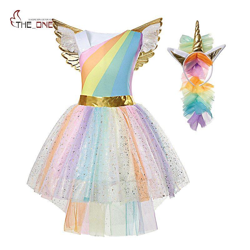 MUABABY Fille Licorne Dress Up Enfants D'été Rainbow Sequin Party Tutu Robe Filles Pageant Tulle Cosplay Costume avec Aile Bandeau
