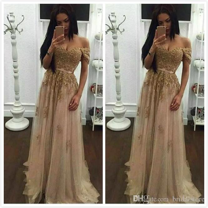 Champagne dentelle perlée robes de soirée arabes 2019 sweetheart une ligne robes de bal en tulle Vintage pas cher formelle robes de soirée Chine livraison gratuite