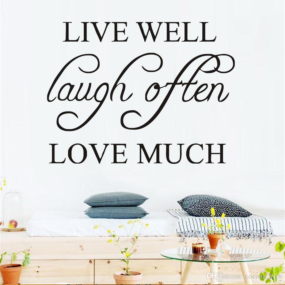 1 Pcs Live Well Laugh Often Love Much Simple Sentence Wall Sticker Pvc Removable Quotes Diy Wall Art Home Decor Living Room Decoration
