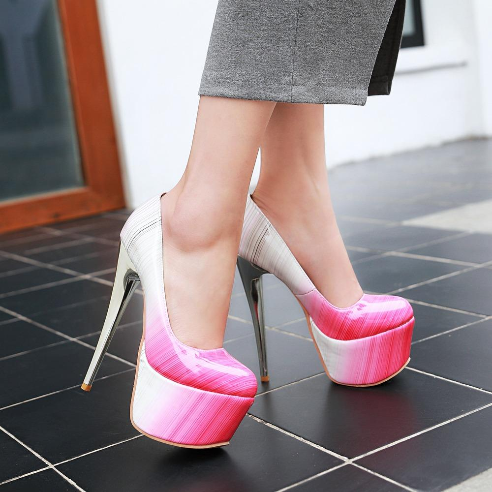 2017 Hot Big Size Verkauf 30-48 Neue Art und Weise reizvolle runde Zehe-Frauen-Super-Plattform-Absatz-Damen Hochzeit Schuhe Y-19