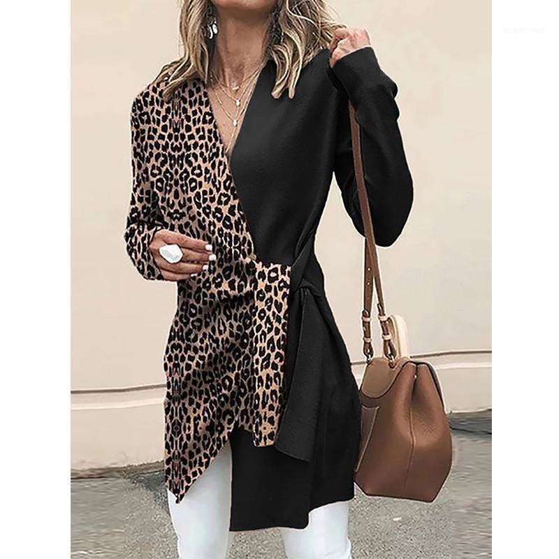 Casual Tees Designer Womens Shirts Moda Leopard Padrão manga comprida Tops V Sexy Pescoço