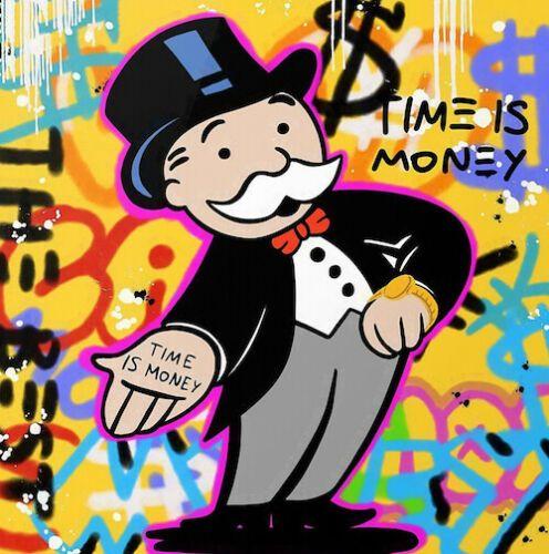 Alec Monopoly Graffiti-Kunst Wanddekor Zeit ist Geld Wohnkultur Handwerk / HD-Druck-Ölgemälde auf Leinwand-Wand-Kunst-Leinwandbilder 200225