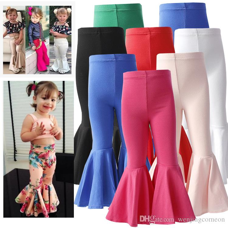 2020 Wholesale Shiny Gold Red Silver Leather Pants Cotton Baby Girls Leggings High Stretch Flared Trousers 1-6T Toddler Kids Bell-Bottoms