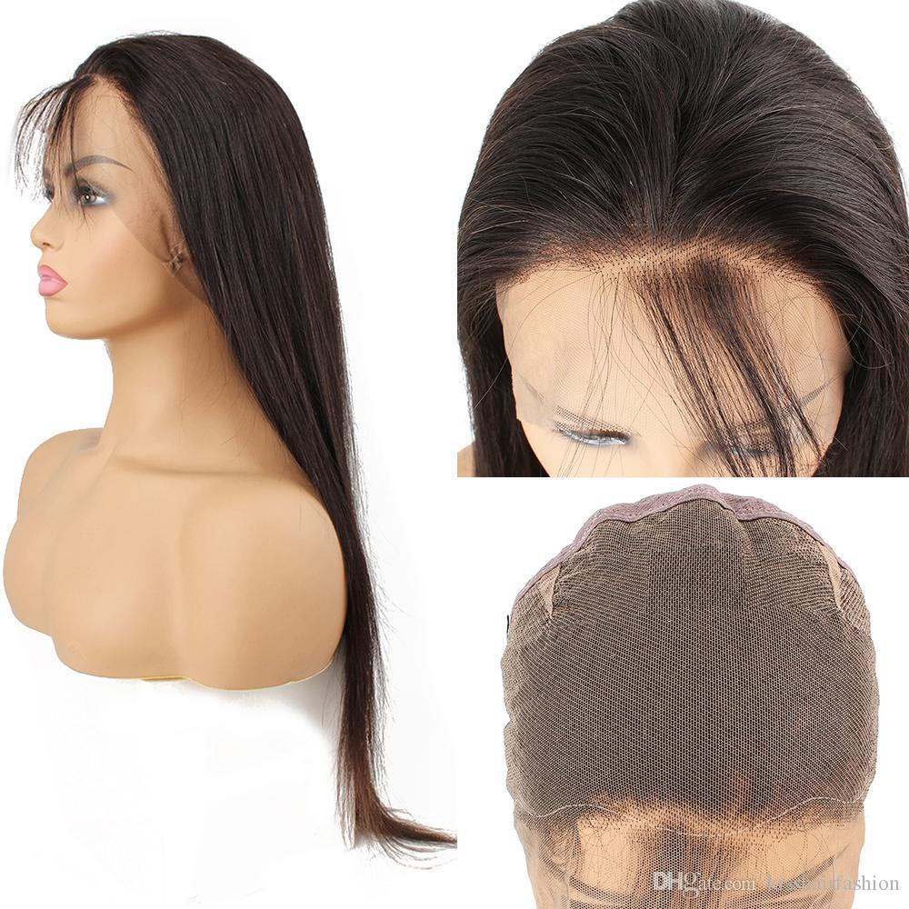 10-28 parrucca piena del merletto Lordo parrucca vergine dei capelli umani brasiliani di colore naturale dei capelli diritto serico merletto svizzero