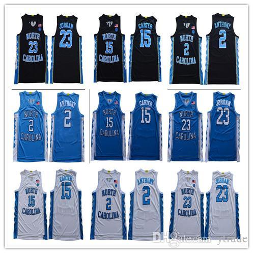 2020 Kuzey Carolina Tar Topuklu # 2 Cole Anthony 23 Michael 15 Vince Carter Koleji Basketbol Formaları S-3XL Yeni Stil Dikişli