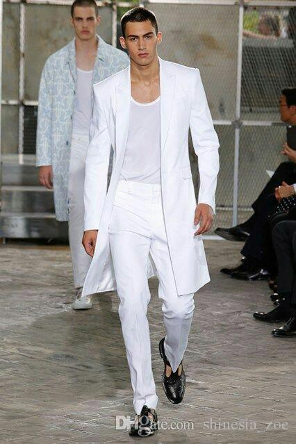 Летние Белые Длинные Куртки Брюки Жених Смокинги Свадебные Костюмы для Мужчин Пик Отворотом Мужские Пиджаки Две Части Пром Вечернее Платье Индивидуальные