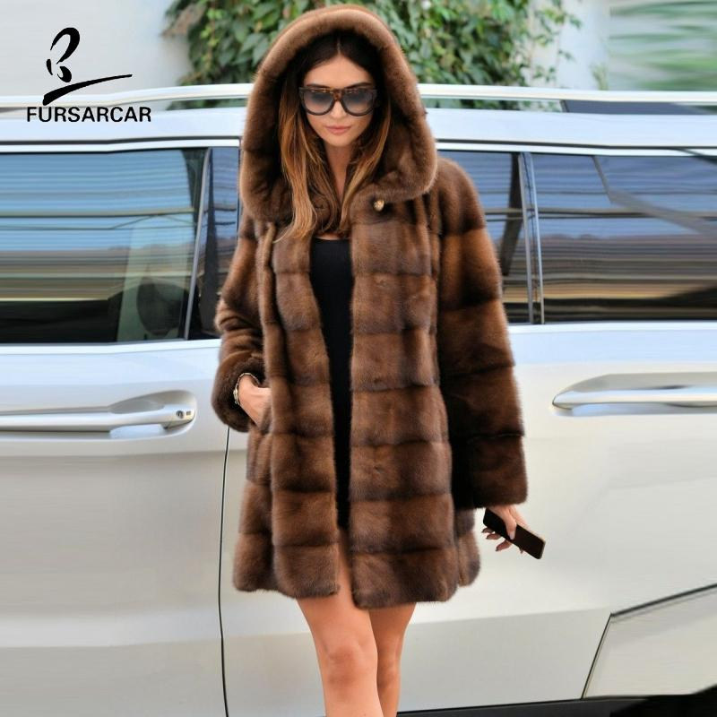 FURSARCAR Real Brown Women Hooded Outwear For 2019 Winter Natural Full Pelt Fur Jacket And Coats Female Winter Clothes