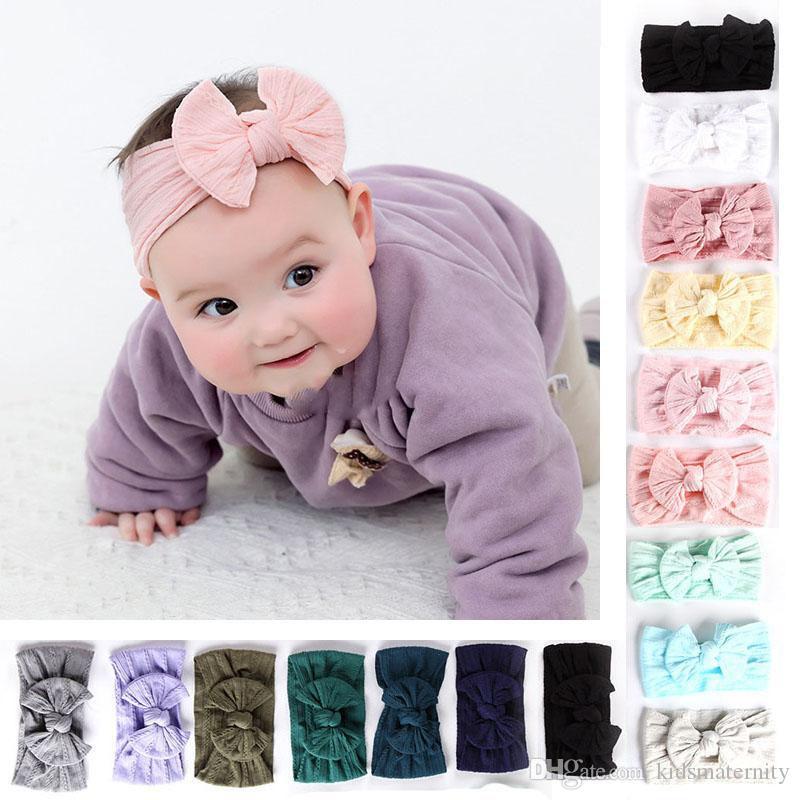 27 couleurs Soft Knot Headhand Baby Girls Nylon Hair Band couleur unie BowKnot Baby Bandeaux Enfants coiffe Turban Noeud bandeaux Wraps