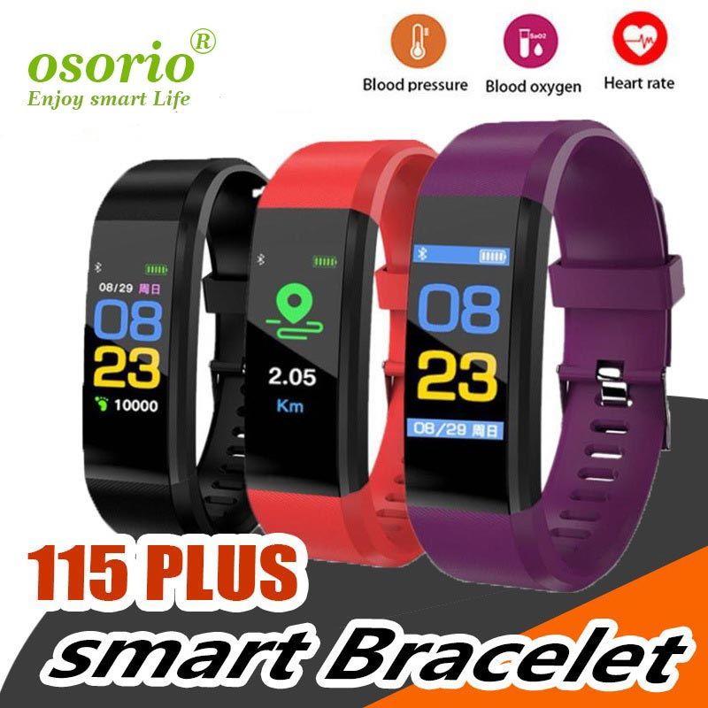 LCD écran couleur ID115 plus intelligent Bracelet Fitness Tracker Podomètre Montre bande de fréquence cardiaque Pression artérielle Smart Monitor Wristband