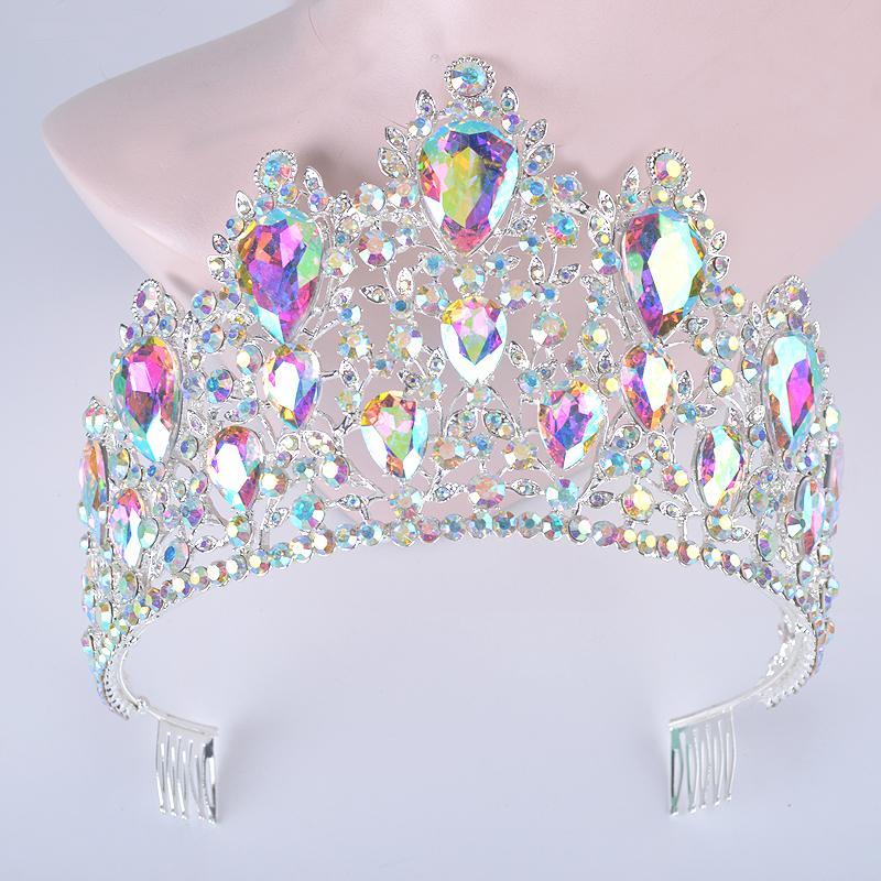 Bildirimi Gümüş Ab Renk Düğün Saç Tiara Tarak Ile Büyük Gözyaşı Kristal Kadın Taçlar Gelin Başlığı Saç Takı Diadema J190701