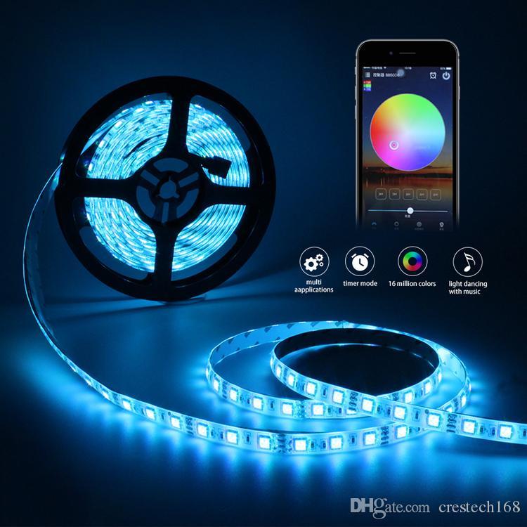 LED 스트립 SMD 무선 컨트롤러 + 전원으로 5050 방수 DC 12V RGB 와이파이 LED 조명 유연한 리본 다이오드 테이프 5m