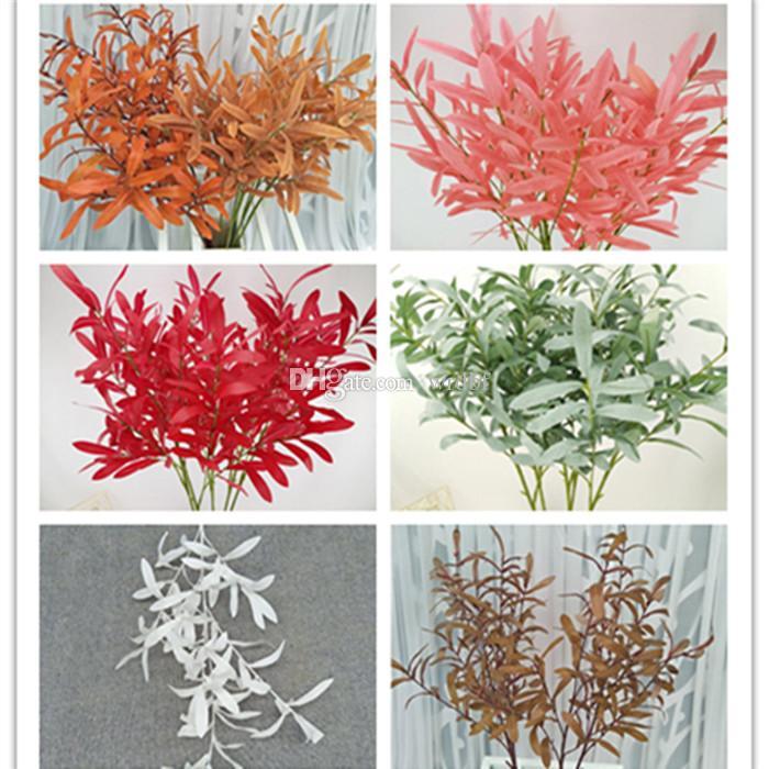فروع شجرة الزيتون الحرير 6 ينبع / قطعة الاصطناعي الأخضر / الأحمر أوراق الزيتون ينبع وهمية الخضرة نبات الصفصاف أوراق الشجر 8 ألوان