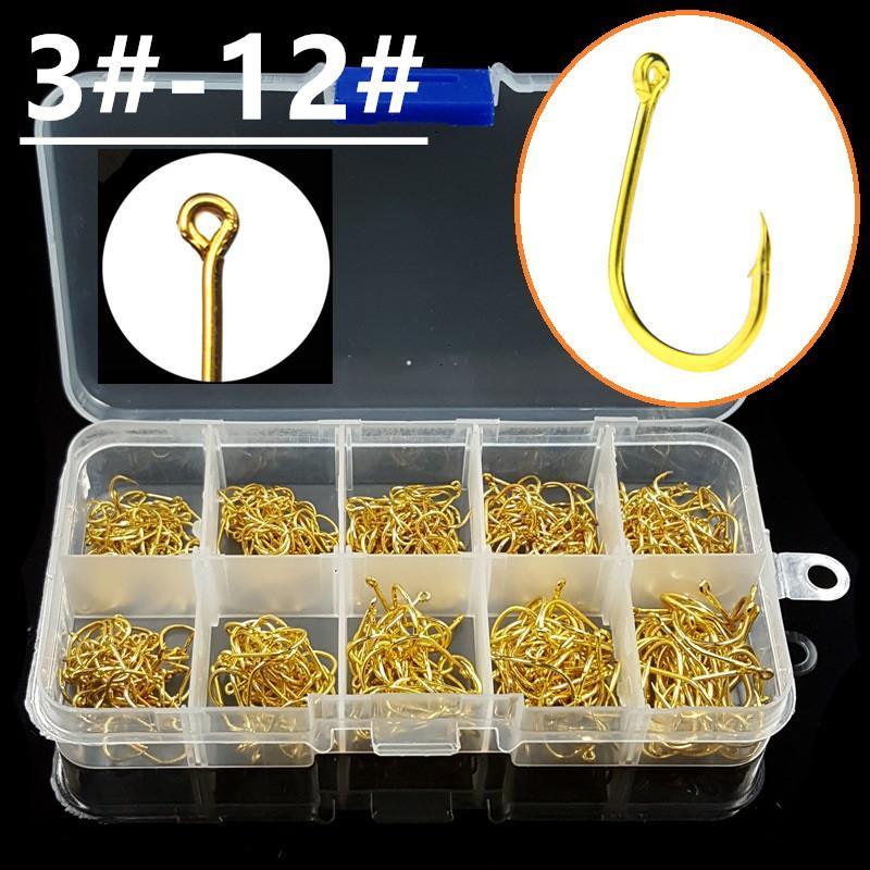 500pcs / 1box 3-12 # Gold-Ise Haken High Carbon Stahl Barbed Angelhaken Angelhaken Pesca Angelgerät Zubehör 048