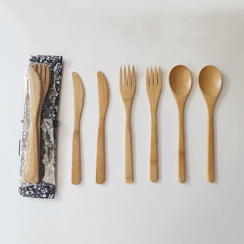 Madera de vajilla de bambú Tenedor Cuchillo sopa cucharilla cubiertos conjunto con conjuntos de bolsa de tela Vajillas