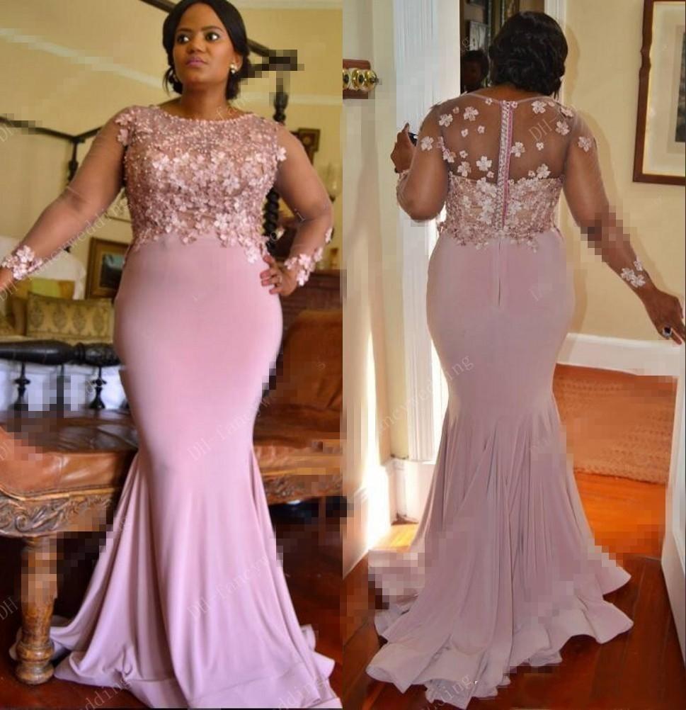 Afrikanische Nixe-Abschlussball-Kleider 2020 Mermaid langen Ärmeln handgemachte Blumen-Korn-Abend-Partei-Kleider Plus Size