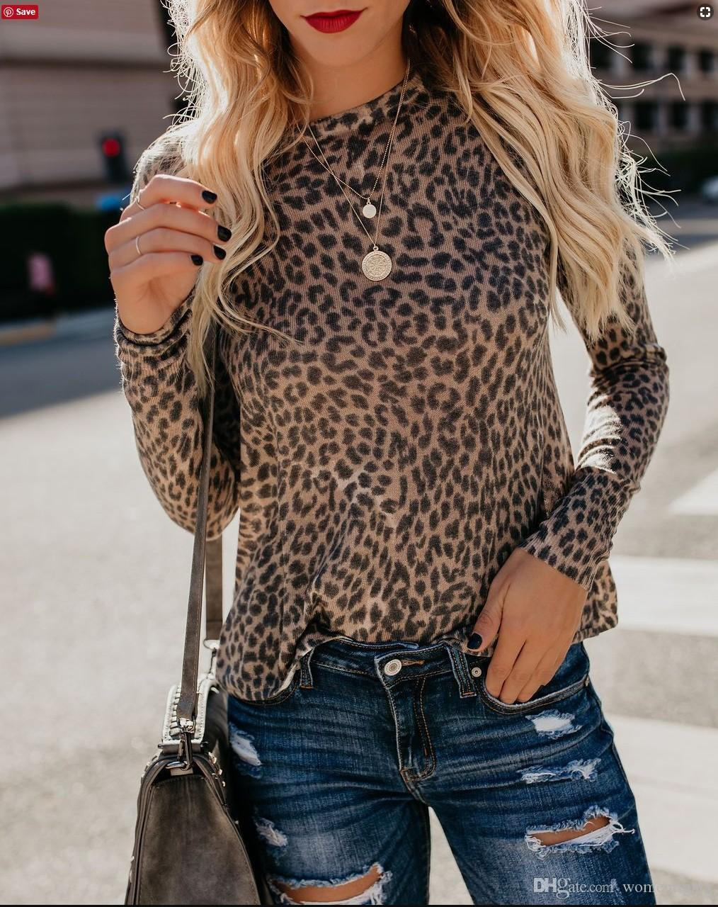 Women Slim Fit Leopard T shirts Spring Autumn Long Sleeved Fashion Tops Female Vestidoes