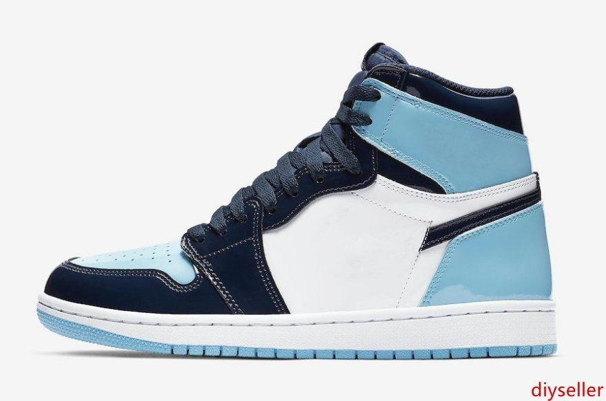 1s blau weiß unc TOP Factory Version 1 Basketball-Schuhe Herren-Trainer 2019 Lackleder Turnschuhe mit