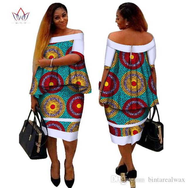 Африканский Дашики Принт Женская Одежда Две Части Топы и Тело Кукуруза Платье Новый Дизайн 2017 Мода Плюс Размер BintaRealWax WY2400