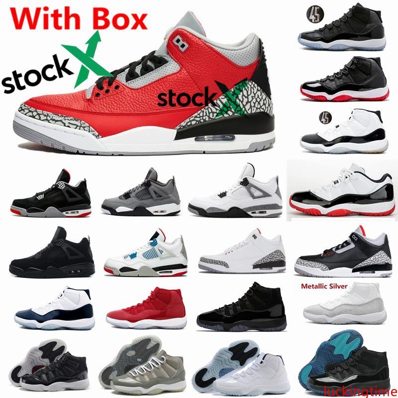 Cemento rojo Chicago Gato Negro 4 4s Bred Concord 11 11s zapatos de baloncesto de los hombres blancos atasco del espacio Leyenda Gamma Azul Cool Gray 3 3s zapatillas CHI baja