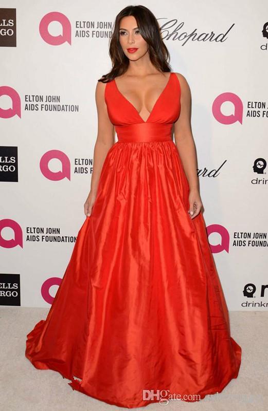 Acheter Kim Kardashian Rouge Robe De Soirée De Haute Qualité Sexy Col En V  Profond Party Longue Robe De Célébrité Formelle Inspiré Robe De L\u0027événement