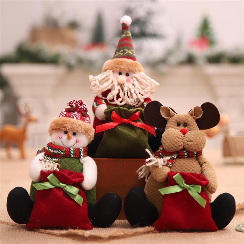 Noël Sac cadeau enfants Sucrerie Sacs Père Noël bonhomme de neige Cerfs Décorations de Noël Nouvel An 2020 Décoration de Noël Doll Toy Navidad