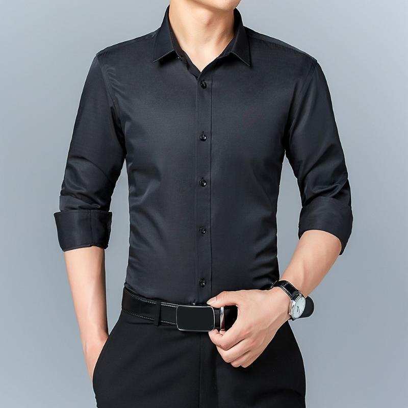 Feitong Slim camicia di affari di modo degli uomini di stile di body-building Solid Nero Bianco Blu Rosa a manica lunga autunno Tutto abbinare camicie