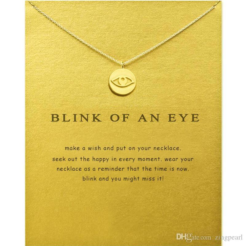 Mode Choker Halsketten mit Karte Gold Silber Teufelauge Anhänger Halskette Für Mode Frauen Schmuck Blinzeln von einem Auge