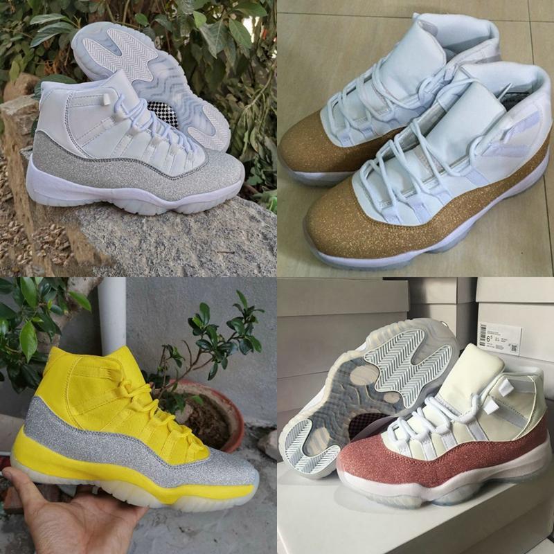 Nuovo Jumpman 11 XI viola della luce della stella d'argento oro bianco giallo metallizzato di pallacanestro del Mens scarpe sportive scarpe da tennis delle donne Wmns 11s Cesti Formatori