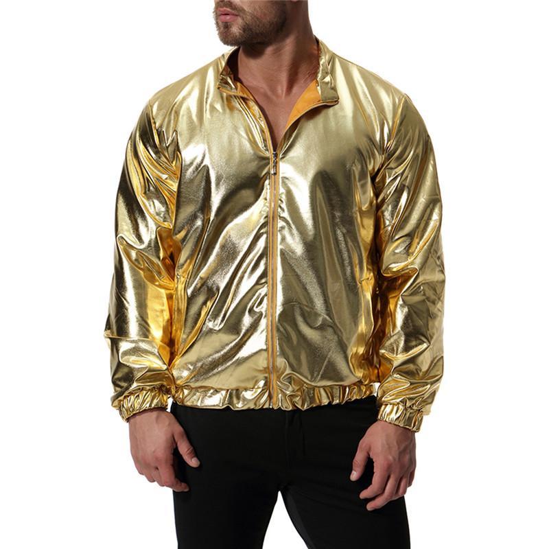 Fashion Men Gold Silver Slim Jacket Men Casual Nightclub Bright Jacket Coats For Male Nice New Autumn Winter