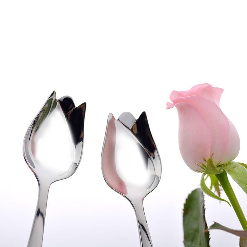 100pcs / lot Gümüş Uzun Kol Paslanmaz Çelik Ayna Polisaj Akşam Şeklinde Sofra Sofra takımı Kaşık Narin Rose Karıştırma