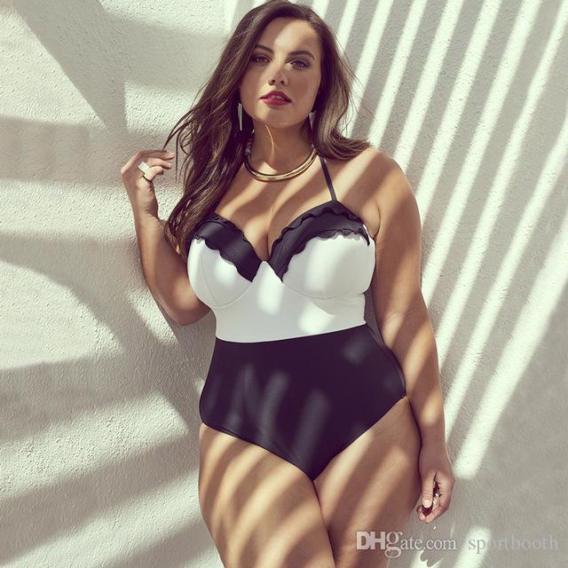 مثير بالاضافة الى حجم ملابس سباحة قطعة واحدة ملابس السباحة دفع ما يصل Monokini ملابس كبيرة الحجم ثوب السباحة ملابس السباحة الصيف الكشكشة السباحة البدلة